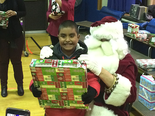 Student with Santa