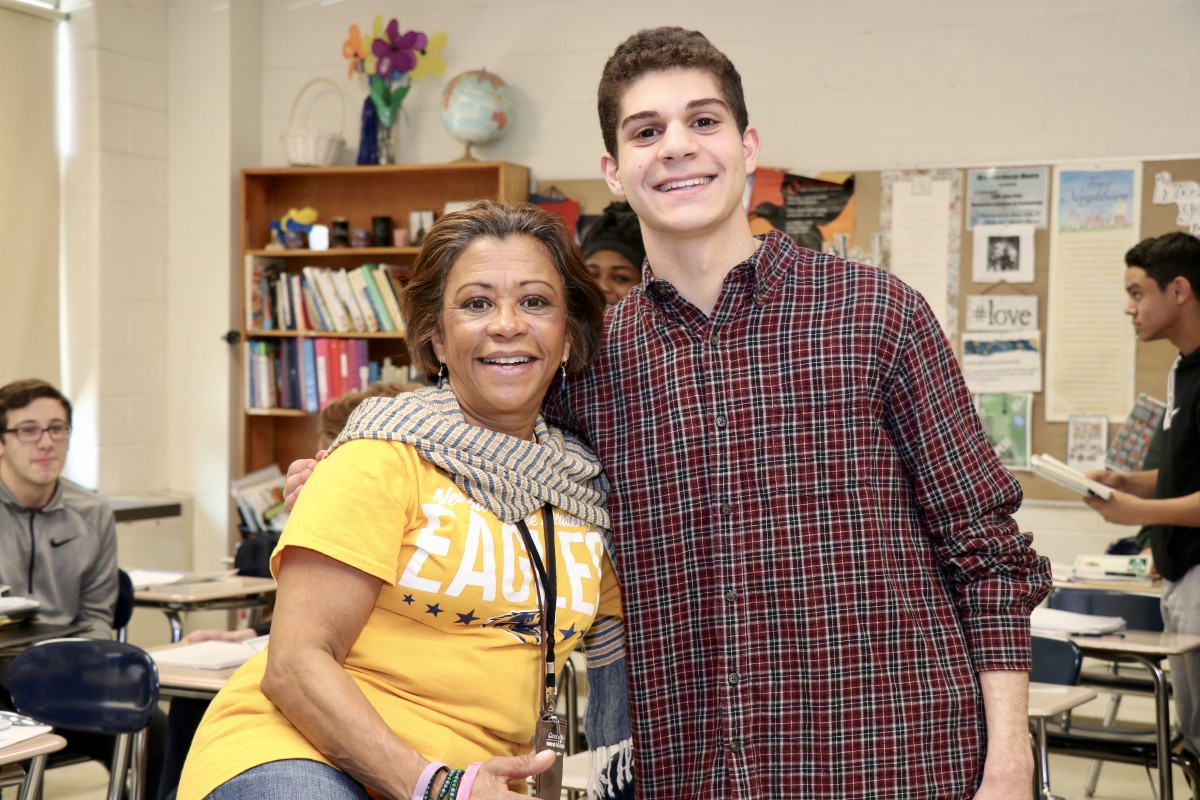 Steve pictured with his current English teacher, Mrs. Chelle Mordecai-Moore