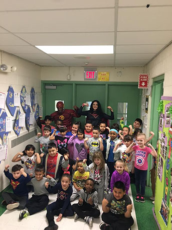 New Windsor Students with the superheros