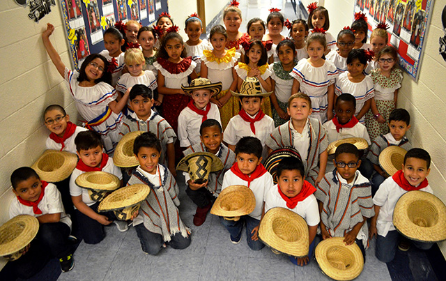 A group of students dressed up for the Hispanic Heritage Month Event