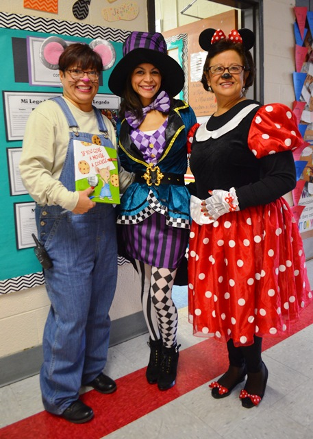 Teacher and students in costume