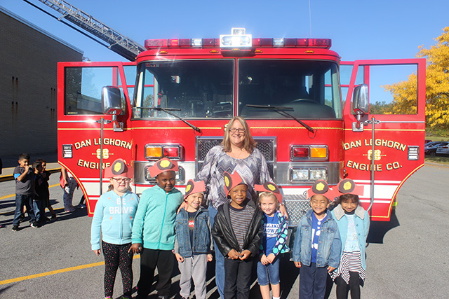 Students in front of the firetruck