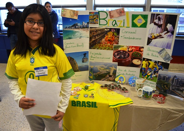 A student with their Brazil project.