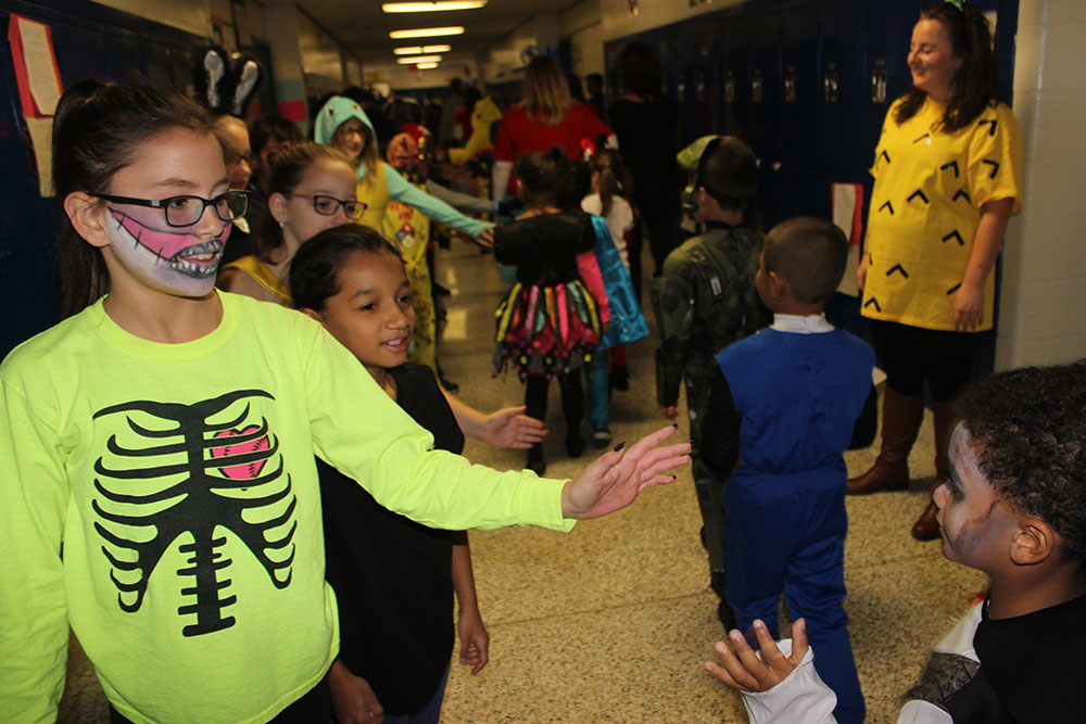 Halloween Parade through the hallways