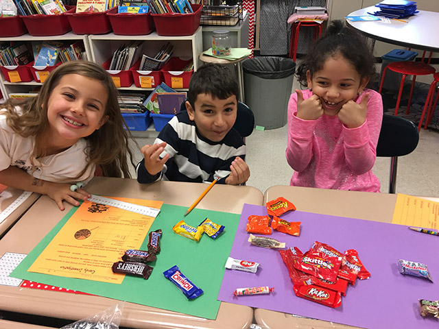 Students investigating candy and numbers