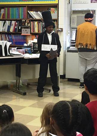 A student dressed as Abraham Lincoln