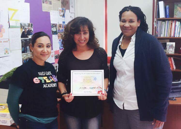 From left to right, Vails Gate STEAM Academy Assistant Principal Mayda Amabile, Teaching Assis-tant Kattya Fernandez, and Principal Ebony Green.