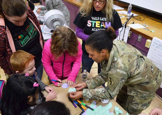 Cadets and students work together