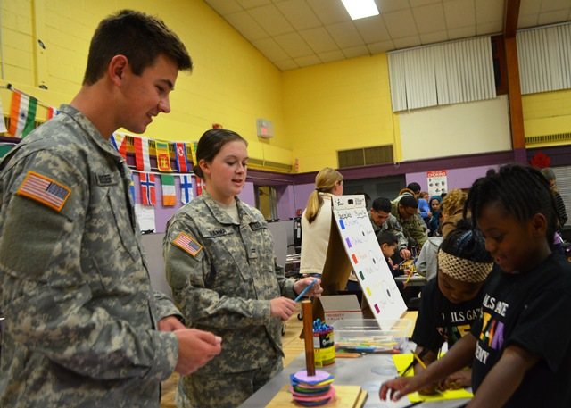 Cadets meet with various students